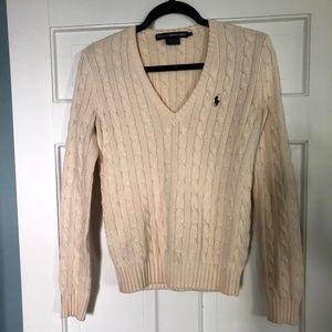 Ralph Lauren Cream V-Neck Knit Sweater Womens M